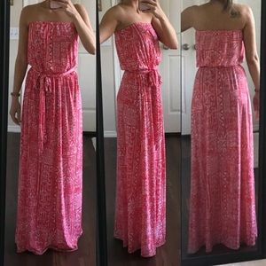 Tori Richard white coral salmon pink maxi dress